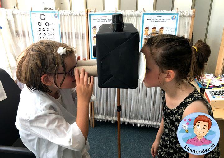 Themahoek opticien voor kleuters, kleuteridee, ogen meten, thema het oog, kindegarten optician role play, eye theme