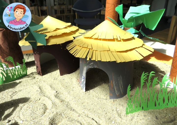 Hut knutselen uit Afrika,kleuteridee, thema Afrika, kindergarten Africa theme
