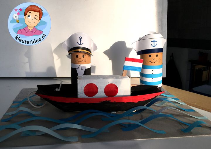 Boot knutselen met kleuters, thema de haven 3, kleuteridee, kindergarten ship craft