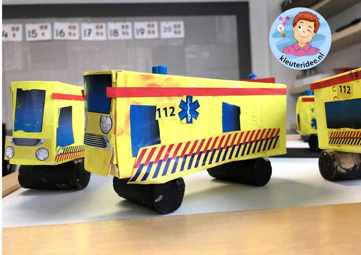 ambulance knutselen met download, kleuteridee