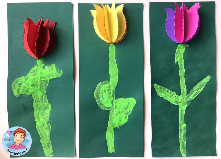 Tulpen prikken, thema Nederland, kleuteridee