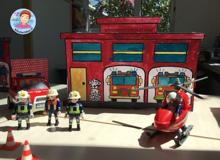 Brandweer kazerne knutselen met kleuters, kleuteridee, Kindergarten firefighters craft