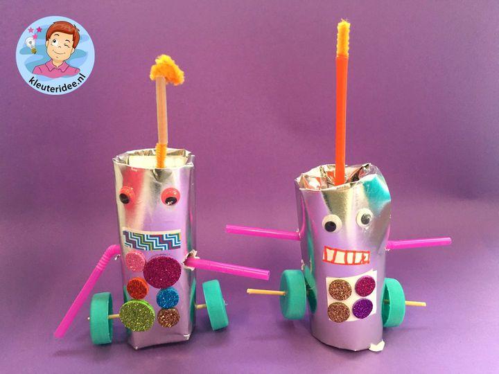 robot knutselen met toiletrol, Robot craft, kindergarten kleuteridee