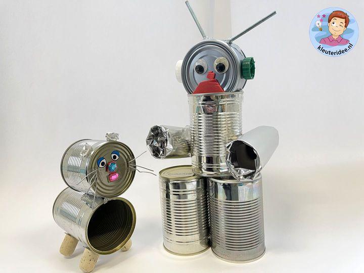 robot knutselen met blikken, Robot craft, kindergarten kleuteridee