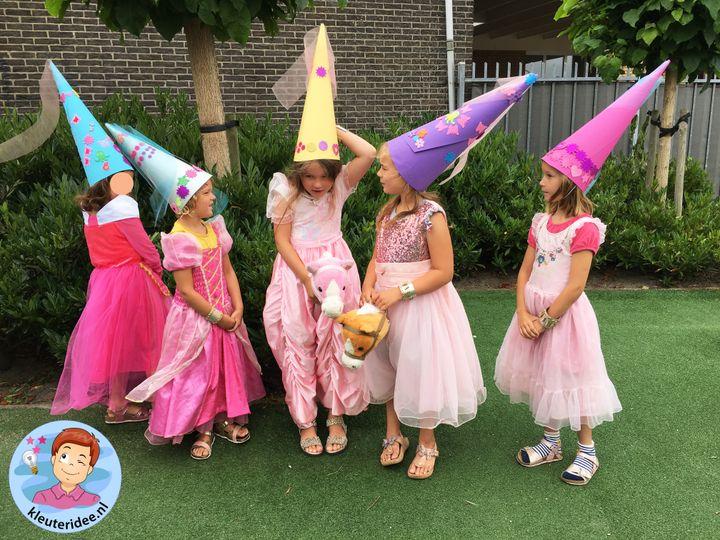 Hoed voor jonkvrouw, thema ridders en jonkvrouwen, kleuteridee, noblewomen hat, kindergarten knights theme