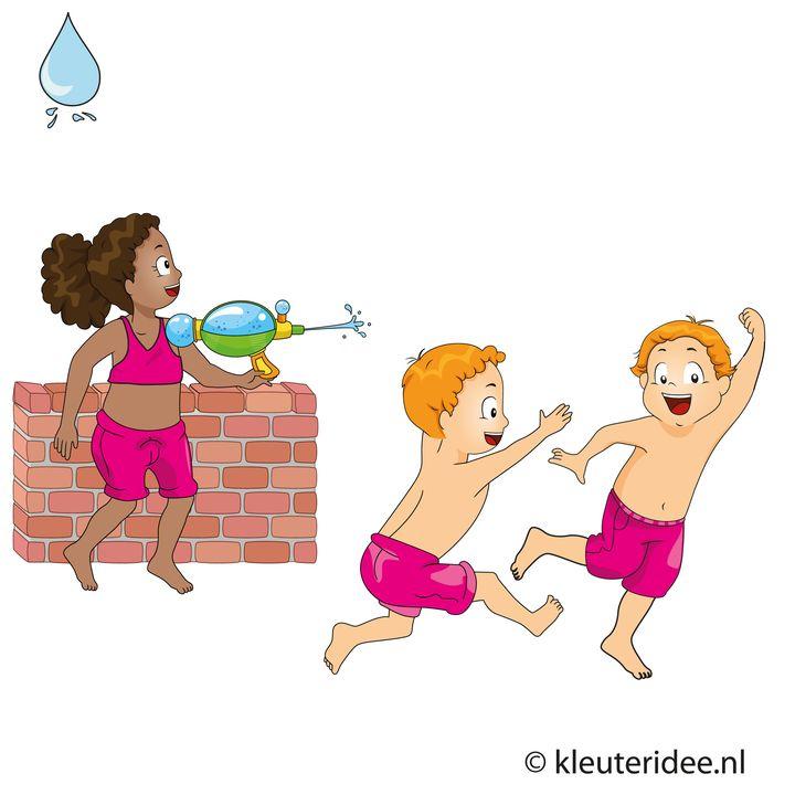 Waterspelletjes voor kleuters, spel 12, Moeder hoe nat is het