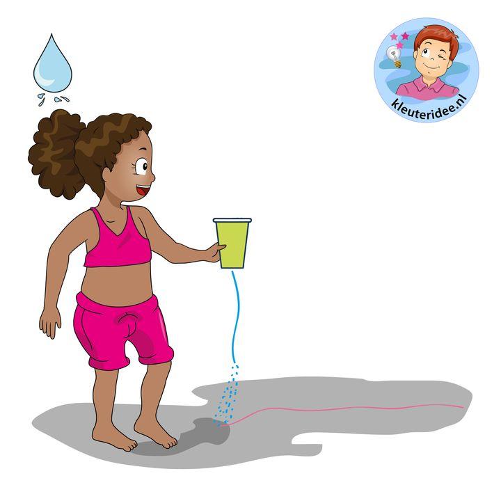 waterspelen 18 stoepkrijt sproeien, kleuteridee