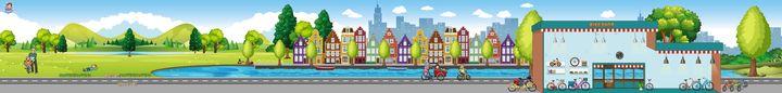 Achtergrond fiets & stad, kleuteridee, thema de fiets
