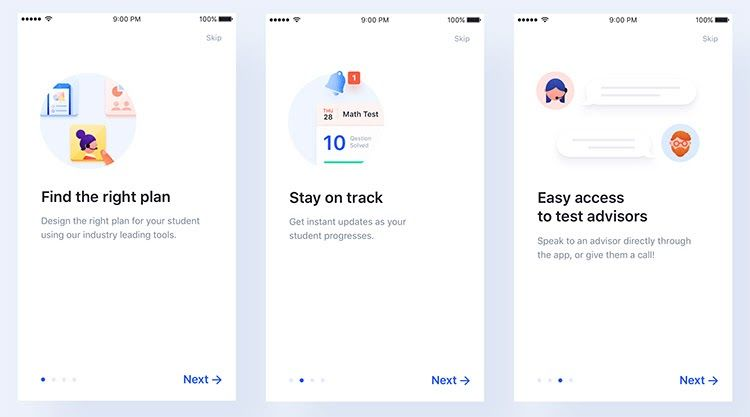 three boxes with the Onboarding stages