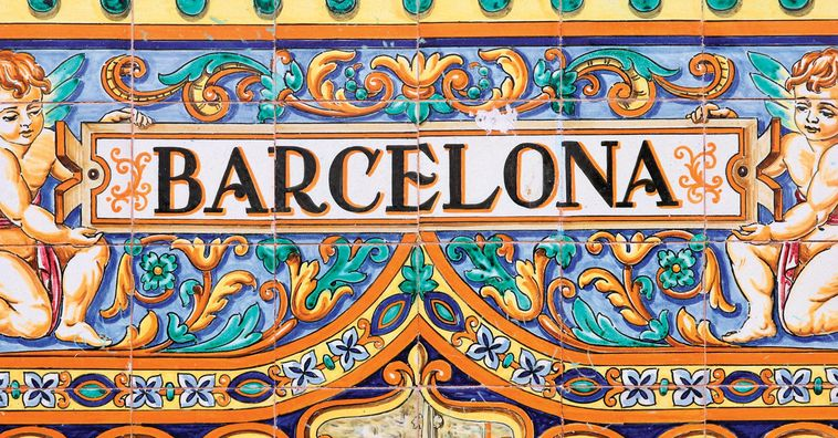 colorful blue tiles reading barcelona