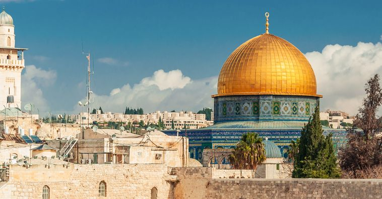 gold domed and blue tiled temple mount in jerusalem old city in israel