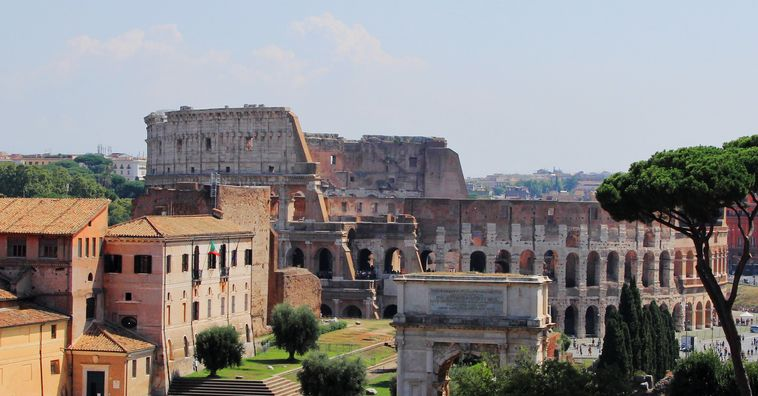 roman colosseum on a sunny day in rome italy