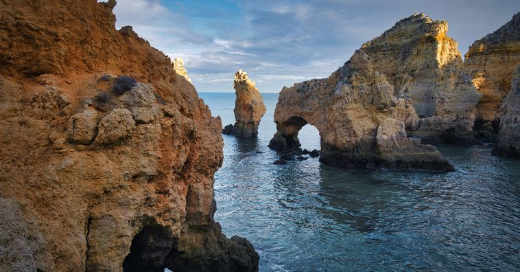 algars caves in the ocean in the algarve in portugal