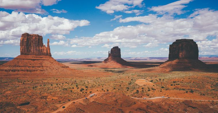 towering sandstone buttes in monument valley in arizona