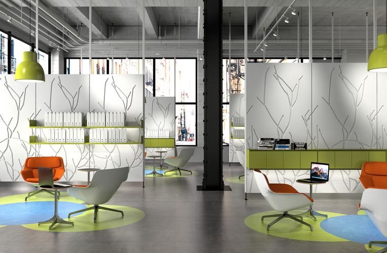View of an office space. The space is decorated with tints of green as well as orange and white chairs. The room is divided into sections using standing branch patterned white Iconic Panels.