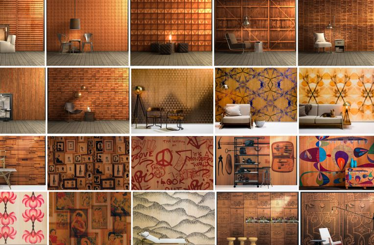 Various images of different rooms with different Infused Veneer panels are compiled together.