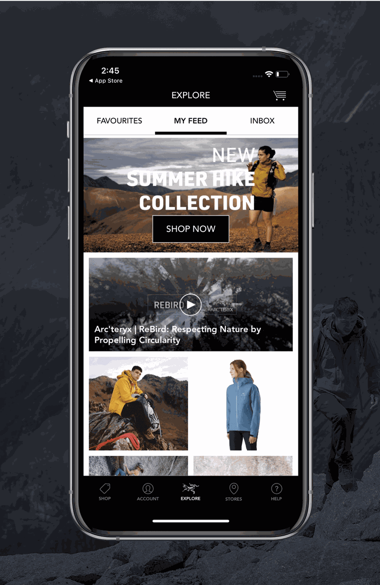 A phone showing the my feed screen of the Arcteryx app
