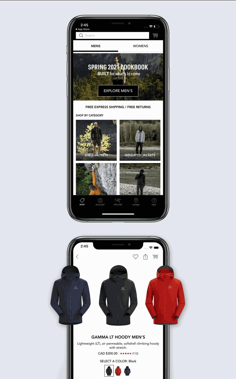 Phones showing the Arcteryx app