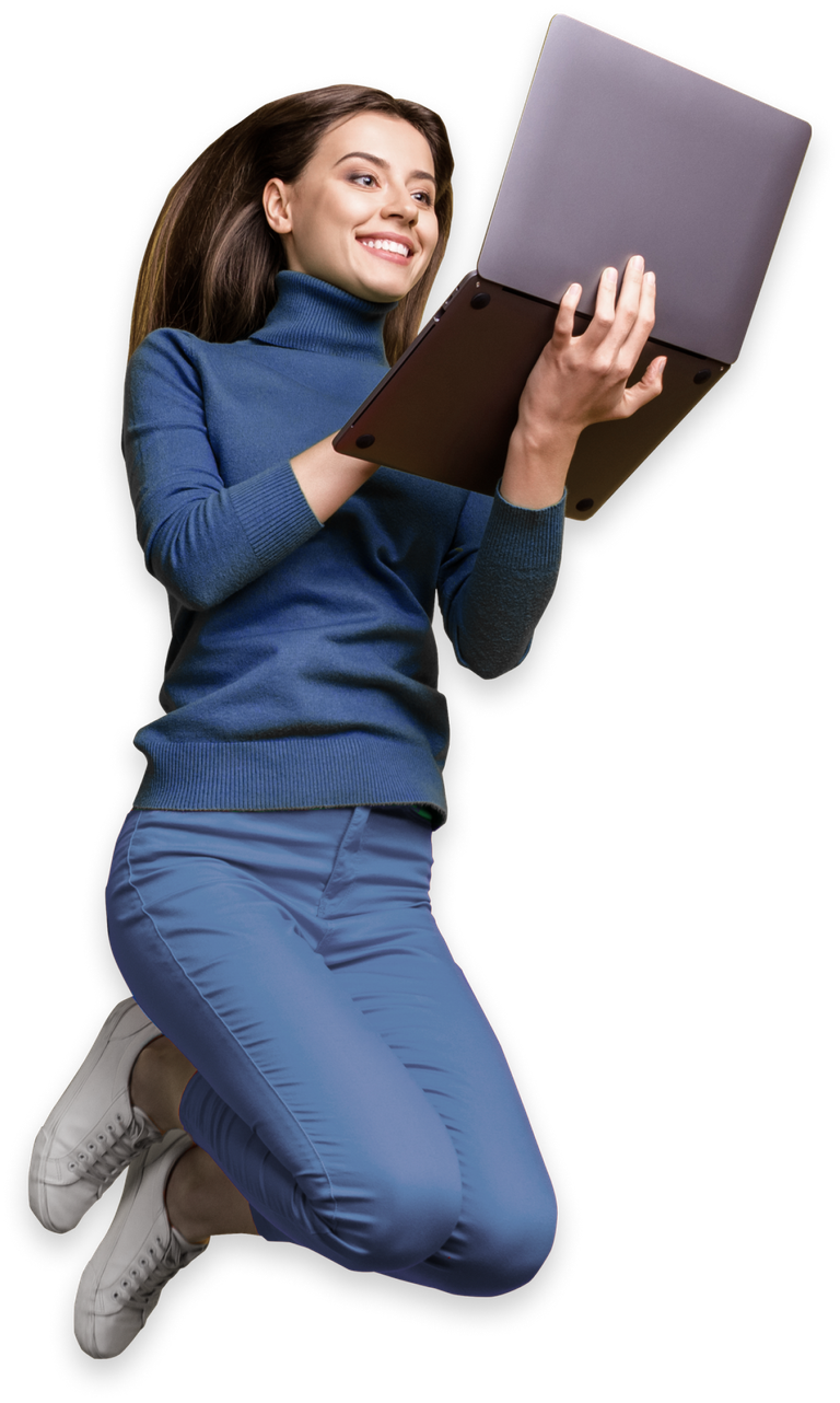 A lady jumping in the air with a laptop in her hand