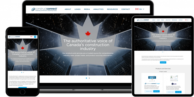 ConstructConnect Website open on Electronic Devices