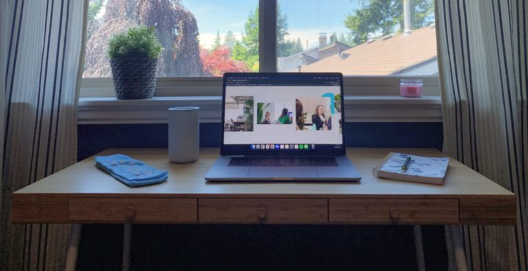 Desk with an open laptop