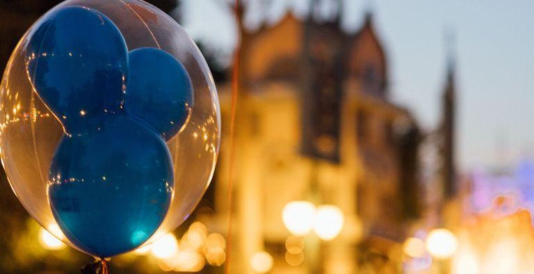 A blue Mickey Mouse balloon