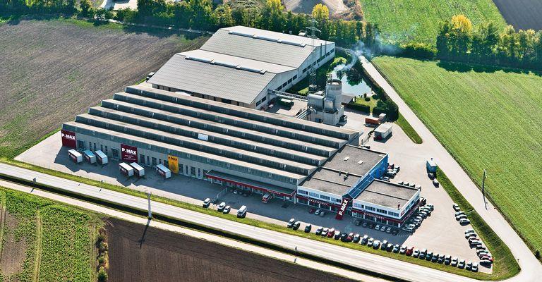 Luftbild der P.MAX Zentrale und Fertigung in Stockerau.