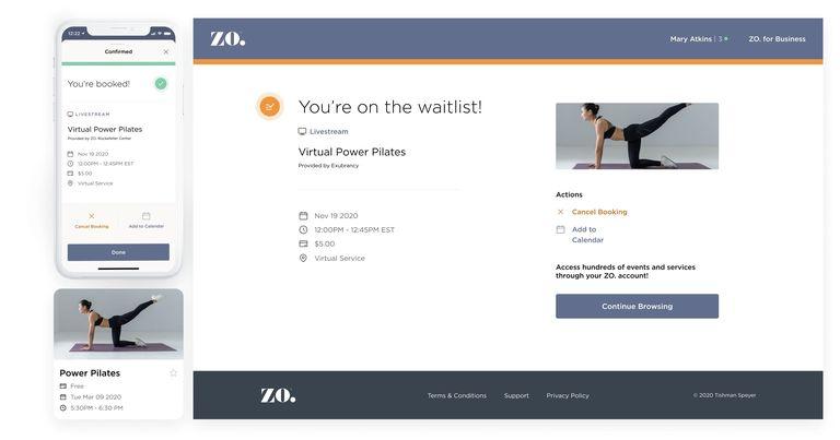 UI designs of the Zo App