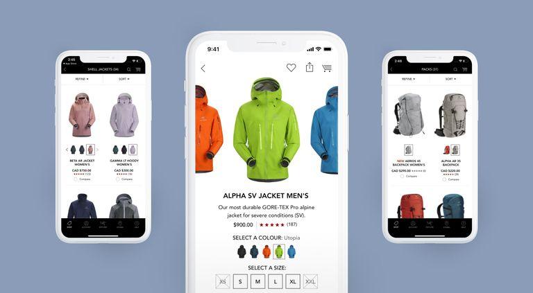 Multiple phones showing the Arcteryx app