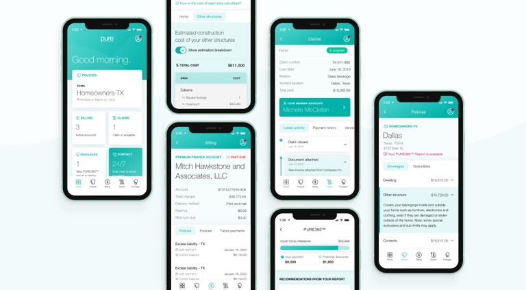 Phones showing multiple screens of the Pure App