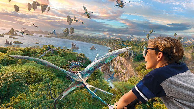 A child rides Pandora's Flight of Passage at Disney World