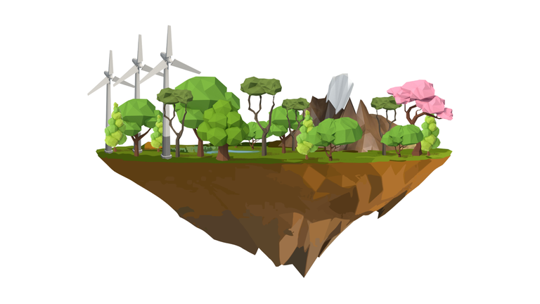 Floating rock with greenery and wind mills