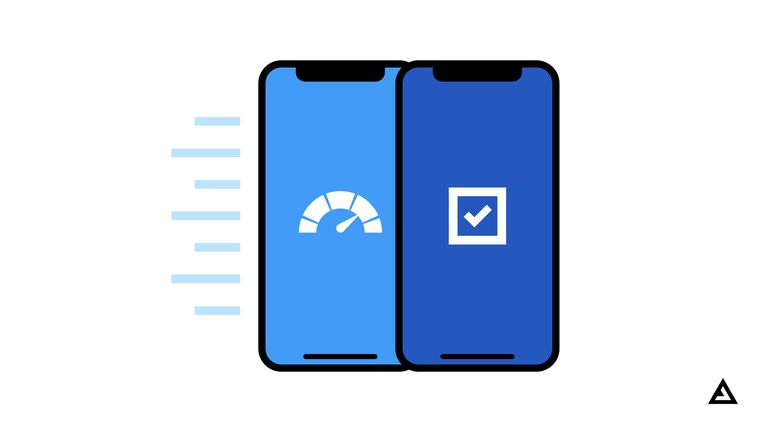 Two mobile phones, one showing a speed ticker, and the other showing a check mark
