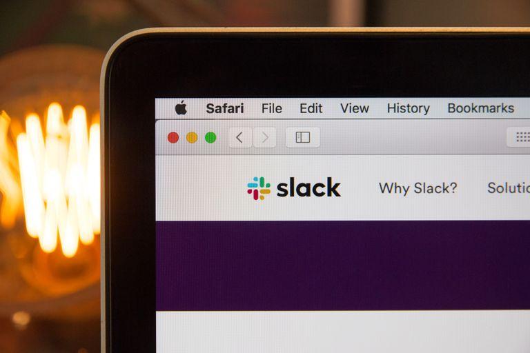 """Computer Showing """"Slack"""" App"""