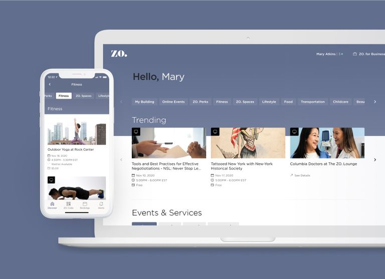 A phone and a laptop showing the welcome screen of the Zo App
