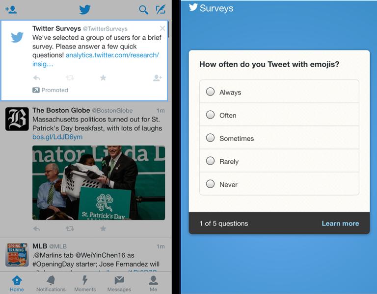 Screen Showing Twitter Feedback Survey