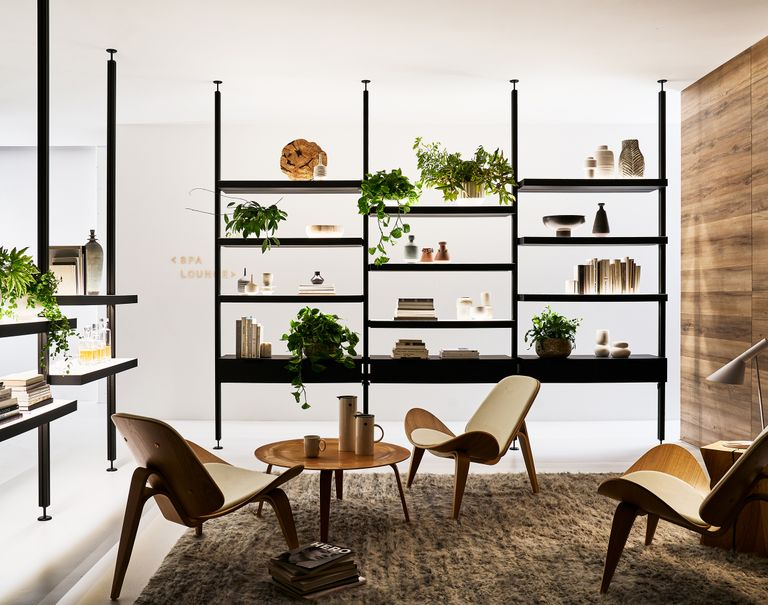 Interior view of an office space with low chairs and round wooden tables. Tall black floor to ceiling Sorbetti cabinets are lined along each side shelving various plants and objects.