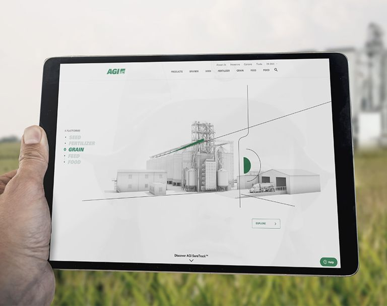 AGI website on a tablet showing the Grain's page