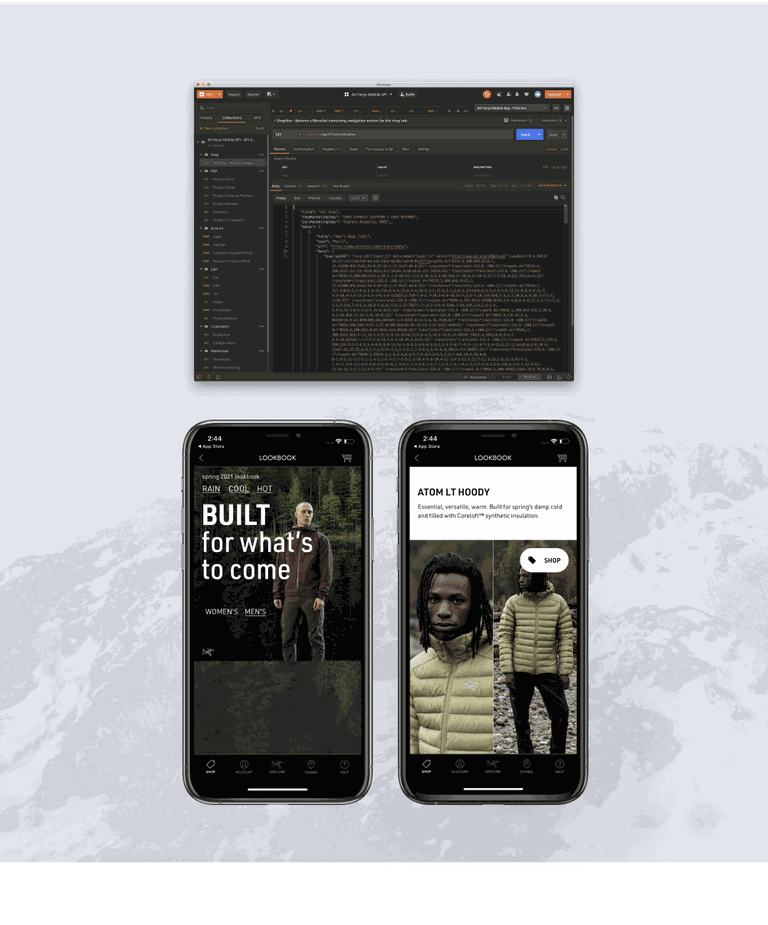 A composite image showing a code snippet and phones with Arcteryx app