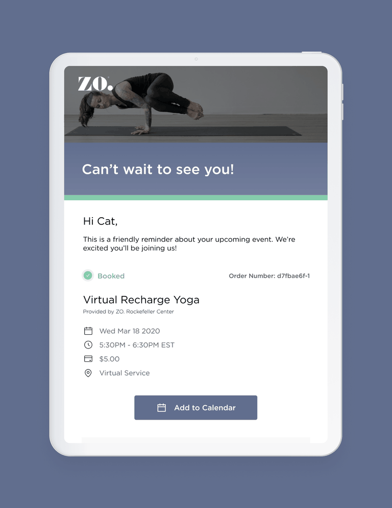 Tablet showing a confirmation for a yoga class