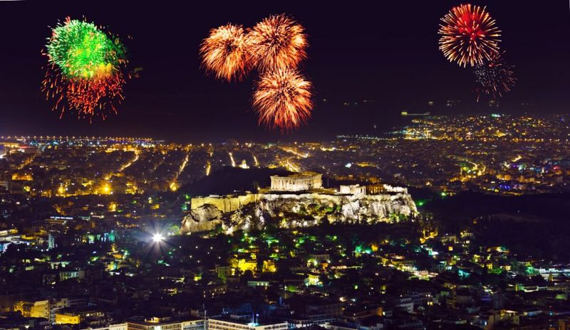 Fireworks as seen from Mt Lycabettus in Athens.