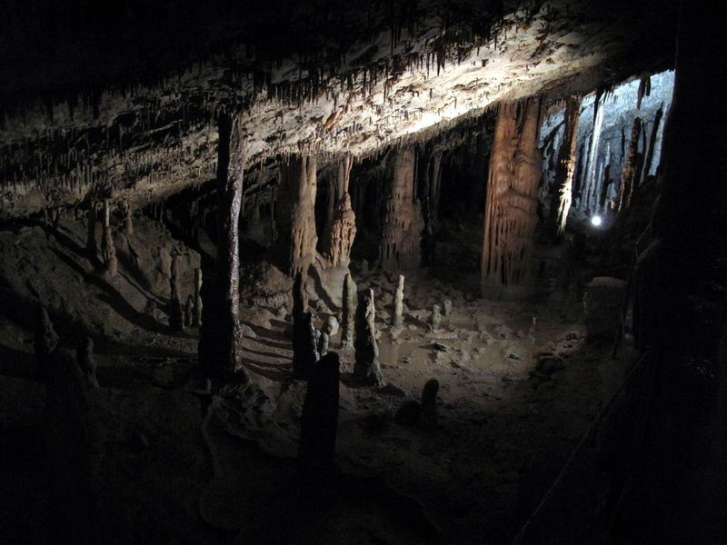 Stalactites and stalagmites.