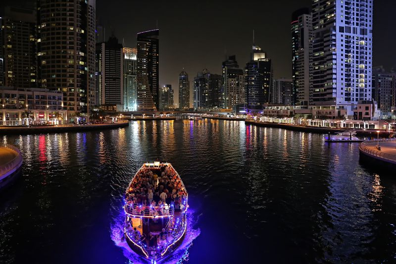 Dubai Marina at night.