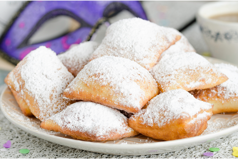 Traditional New Orleans beignets served for Mardi Gras
