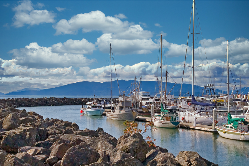 White yachts in a rocky cove in Bellingham, Washington