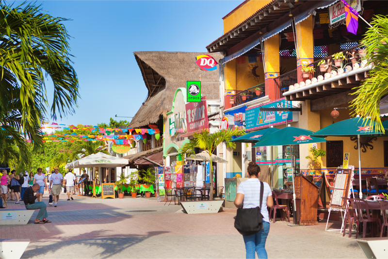 Resort hotels, tourist shops and restaurants in the entertainment district of Playa del Carmen in the Yucatan peninsula of Mexico.
