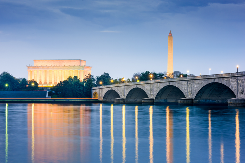 Lincoln Memorial, Washington Monument, and Arlington Memorial Bridge in Washington DC.