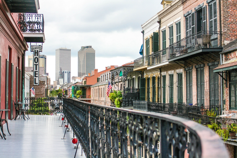 View from the French Quarter in New Orleans to Downtown