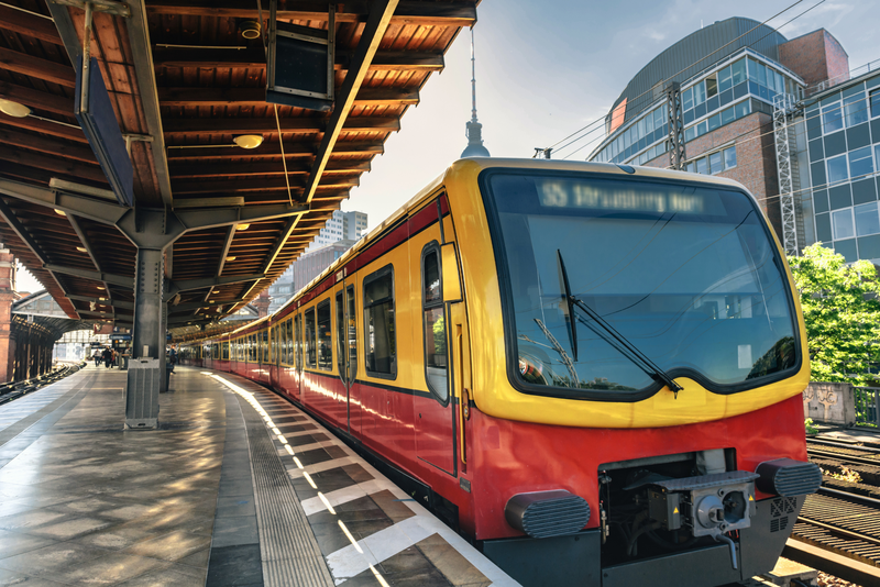 Metro train arriving at a station in Berlin