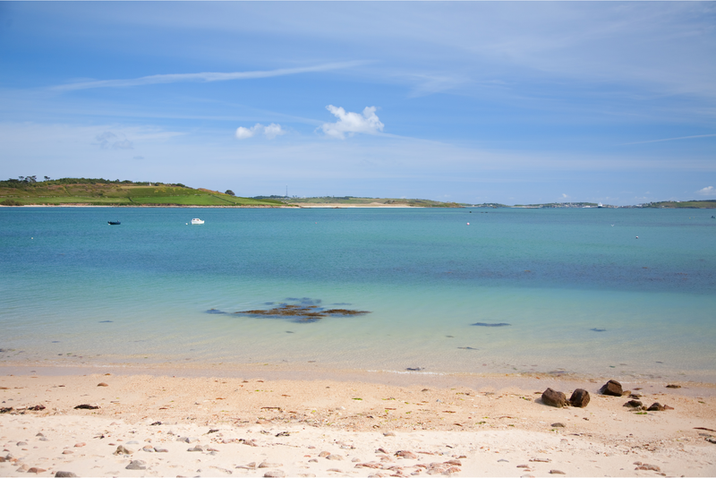 White sandy beach at Bryher, Isles of Scilly, Cornwall, England.